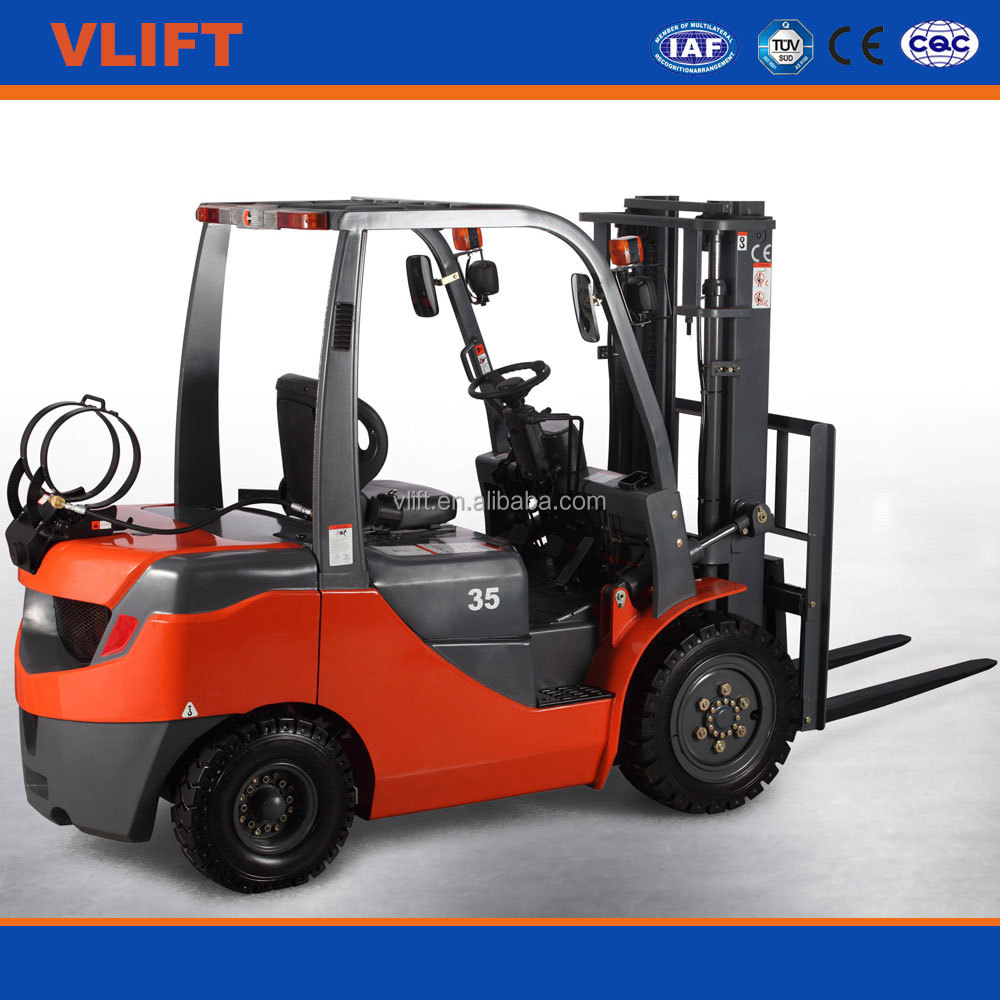 2.5 ton LPG Gasoline hydraulic forklift with 3m full free mast with side shift with Dual Fuel with LPG cylinder