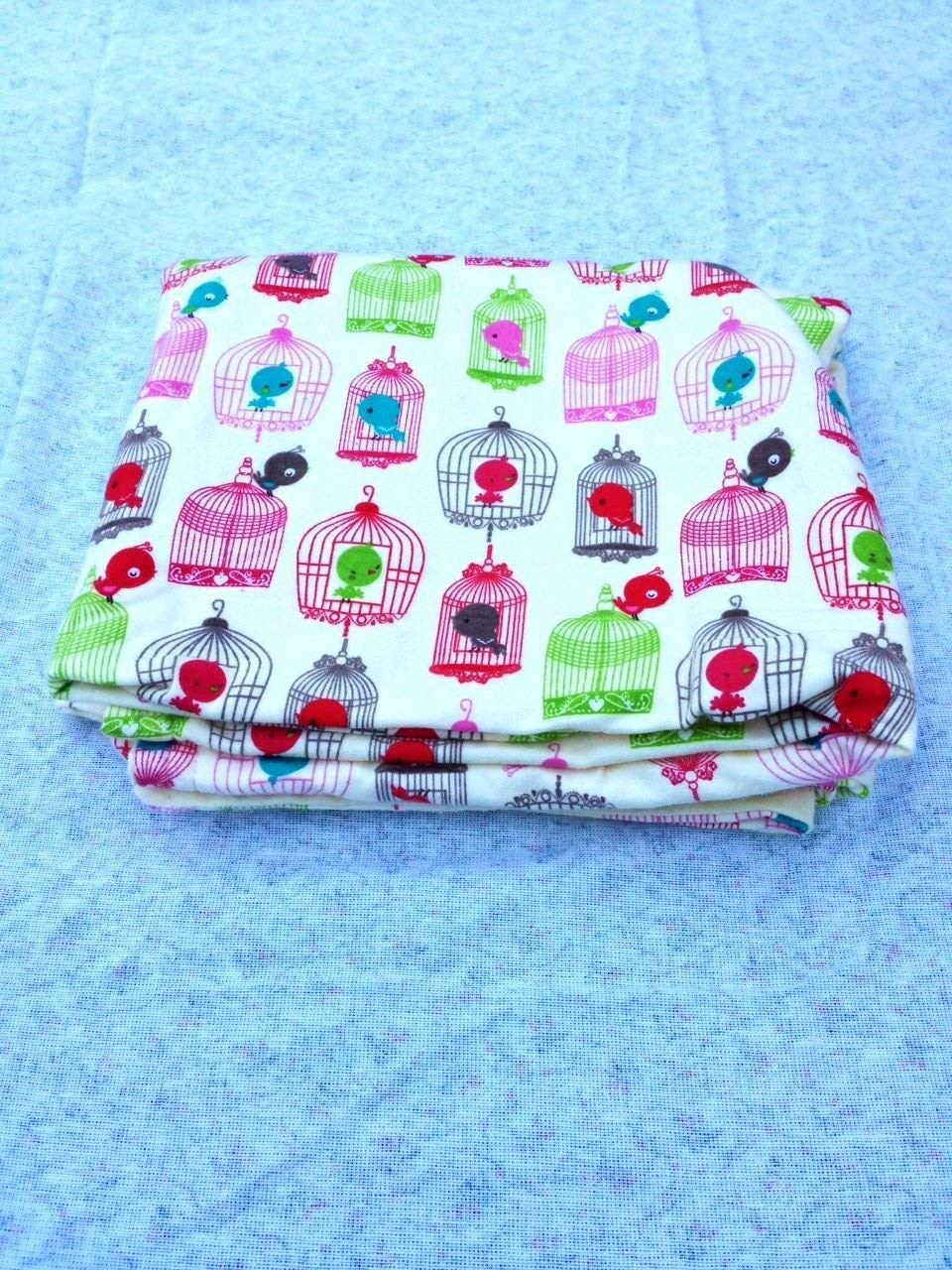 Bird Cages Baby Receving Swaddling Blanket Double Sided Oversized Handmade