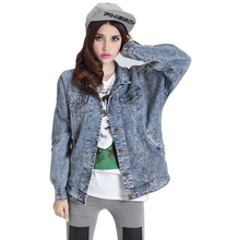 Swag Loose Denim Jacket 2015 Women Girl Autumn Boyfriend Jeans Jacket Plus Size Multi Pockets Blue Coat Casual chaquetas mujer