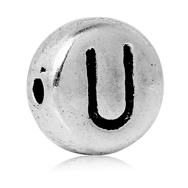 "Spacer Beads Round Antique Silver Letter ""U"" Pattern Carved About 7.0mm Dia, Hole:Approx 1.2mm, 100 PCs"