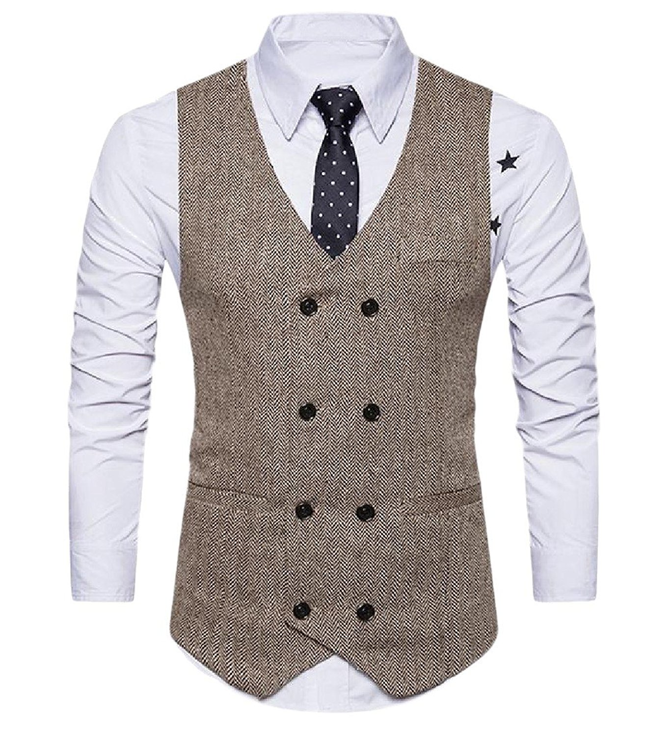 Coolred-Men Trim-Fit Solid Colored Double-Breasted Blazer Waistcoat