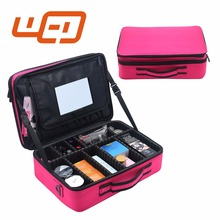 Three layer latest style large capacity mirror pink professional makeup case cosmetic bag with logo