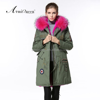 Factory Directly Rose Red Winter Faux Fur Lining Parka,Ladies Fur ...