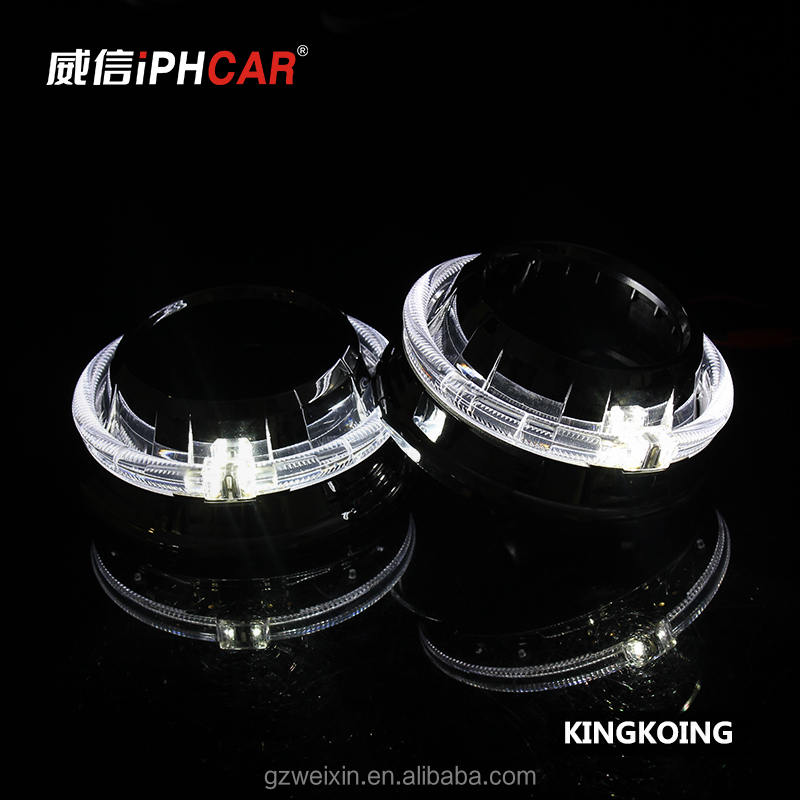 H1 H7 Hid Bi Xenon Hid Projector Lens Light bi-xenon projector oem with LED angel eyes