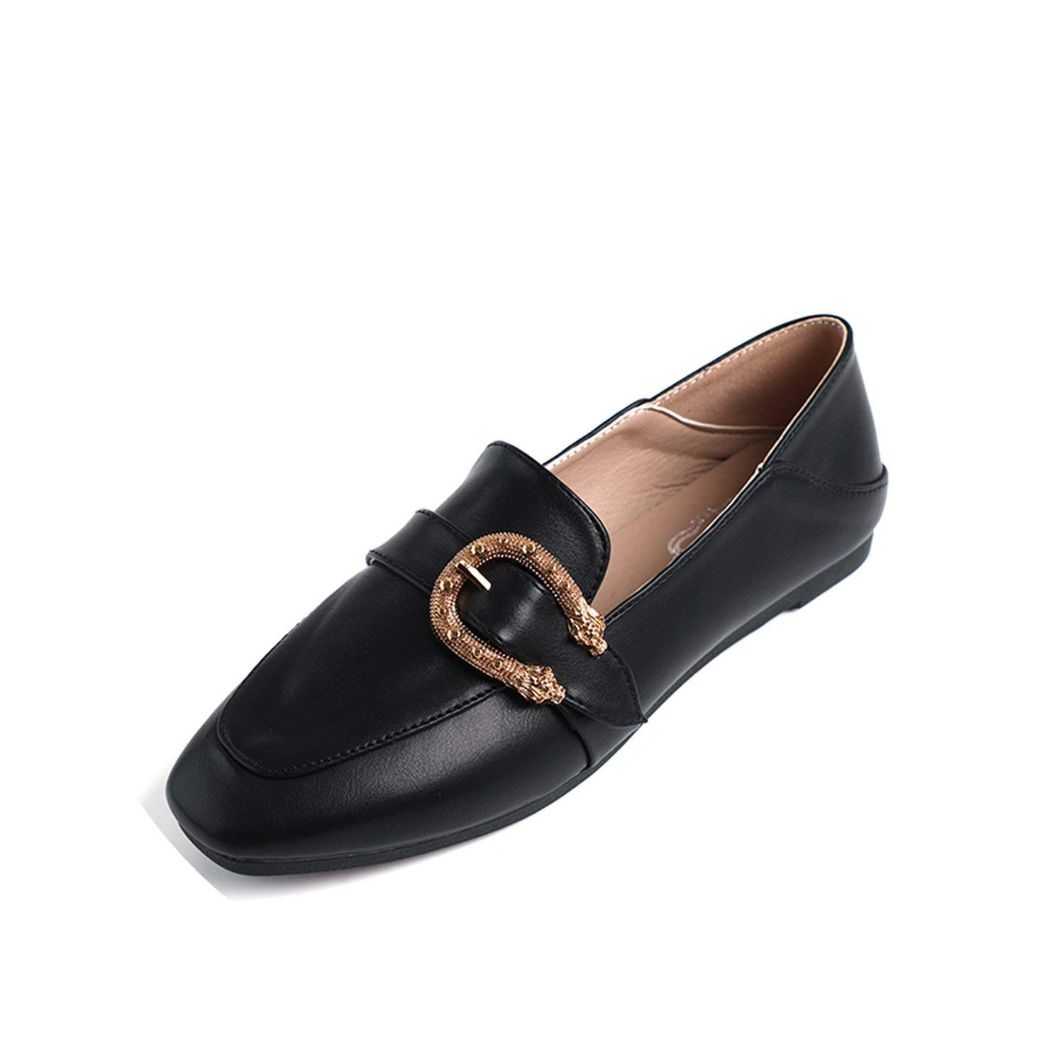 36f8a4486ce Get Quotations · Kingwhisht Loafers   Slip-Ons Loafers Square Toe Slip on Shoes  Buckle Loafer Bead Metal