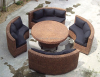 5 piece artistic round design restaurant tables and chairs with backrest sofa bench dining leisure garden furniture
