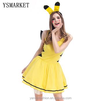 Hot Anime Pikachu Cospay para las mujeres traje de Halloween para las  mujeres vestido de fiesta 26bdb00ec11e