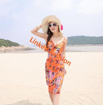 47fceec8ae Womens Sexy Print Chiffon Wrap Pareo Dress Sarong borneo sarongs Beach  Bikini Swimwear Cover Up