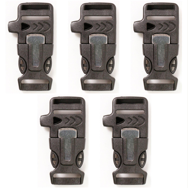 Side Release Whistle Buckle w/ Flint Fire Starter, Parachute Cord / Paracord Bracelet