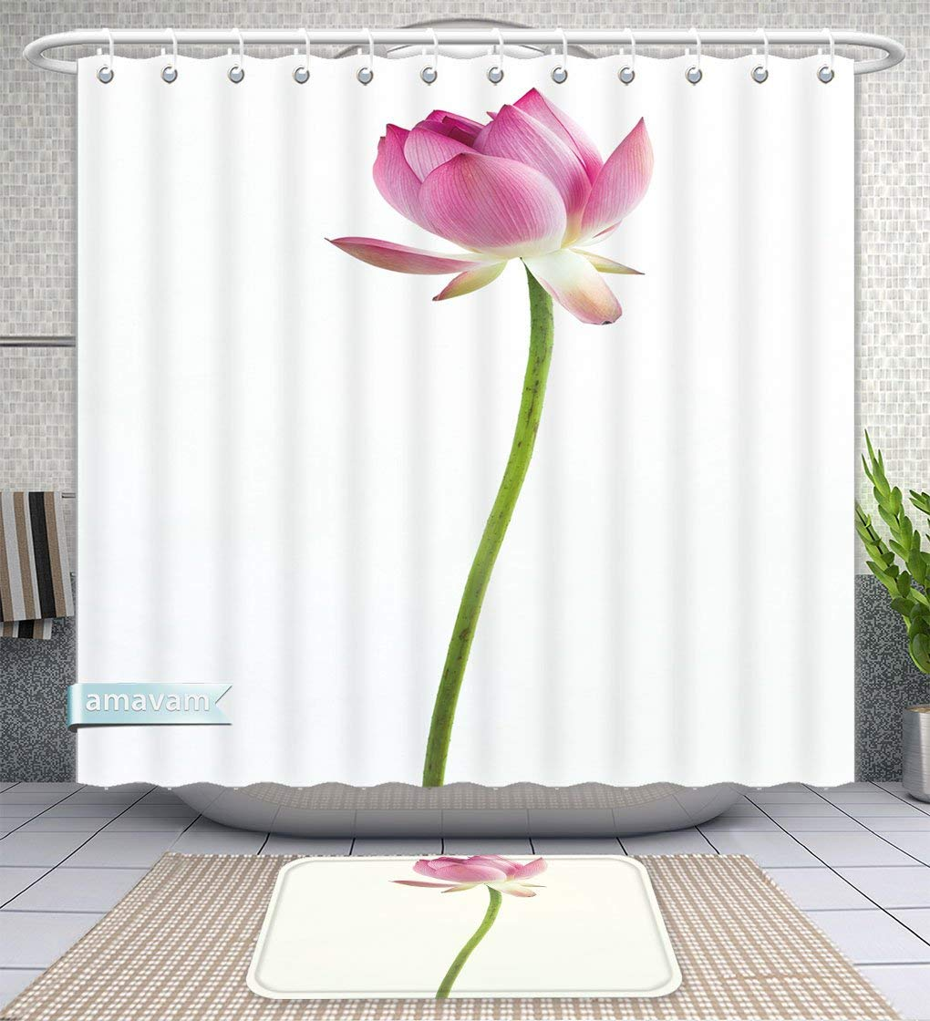 "Amavam Bathroom 2-Piece Suit Pink Water Lily Flower Lotus And White Background The Lotus Flower Water Lily Is National Shower Curtains And Bath Mats Set, 66"" Wx72 H & 23"" Wx16 H"