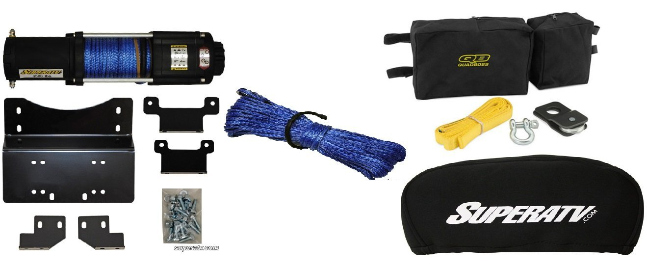 Honda Pioneer 700 2014+ 4500 lb Winch,Winch Mount,Winch Cover,Accessory Kit and Cable Upgrade
