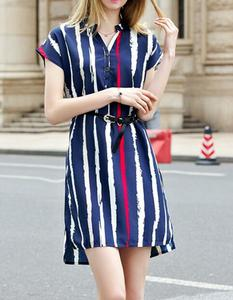 EY1722D new summer women's clothing British women slim stripe cotton dress with short sleeve