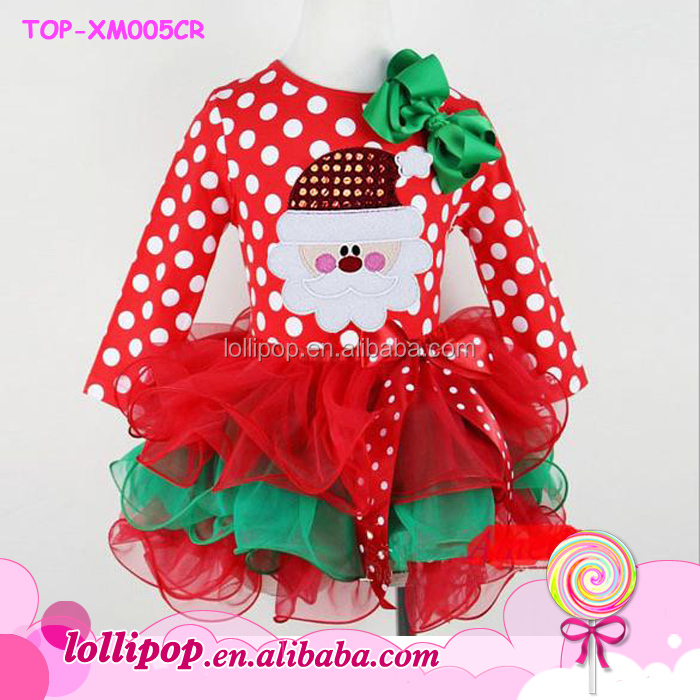 Boutique Polka Dot Dress Kids Girls Cute Baby Christmas Santa Pattern Outfits