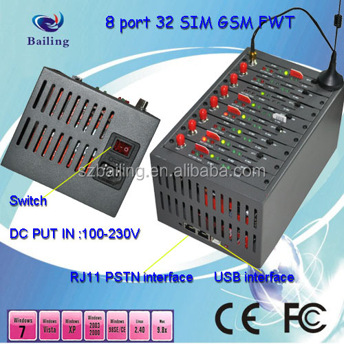 8 port 32 SIM FWT GSM fixed wireless terminal receive s calls and dial
