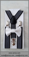 white boys bow ties stripe black suspenders and bow ties for boys man tie set