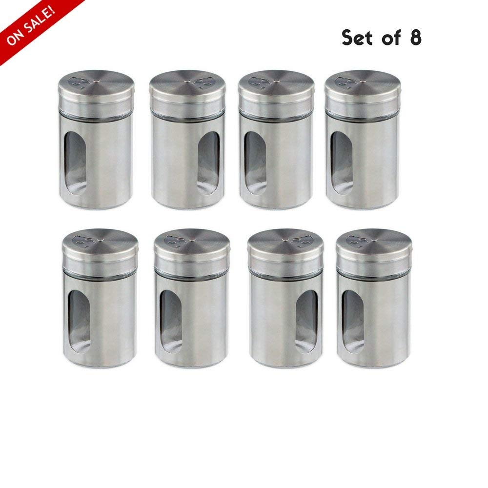 Empty spice jars glass spice jars with top stainless steel lid small size round shape hand