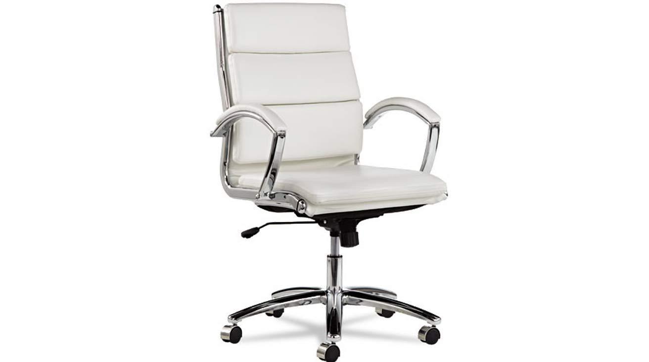 Mid-Back Slim Profile Chair Alera Neratoli White Faux Leather, Chrome Frame K&A Company
