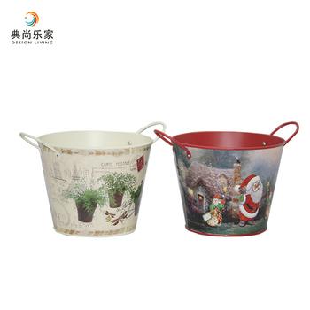 Indoor Home Decorative Decoupage Metal Bucket Flower Planter With Handles