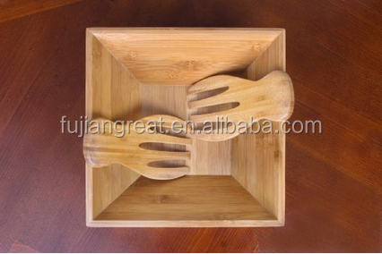 Bamboo Salad Bowl / Serving Hands: Sustainable set includes large square bowl and matching salad servers