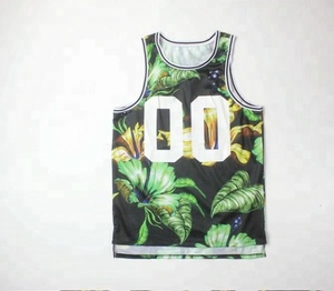Garment manufacturer digital printing with green plants mens tank tops mesh