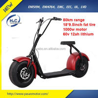 "Factory 1000W 60V electric scooters powerful 18"" fat tire sensor mobility scooters adult electric scooters for sale"
