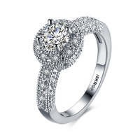 Top Quality Luxury 1.5 Carat CZ Diamond Ring White Gold Plated Wedding Rings For Women Fashion Female Jewelry