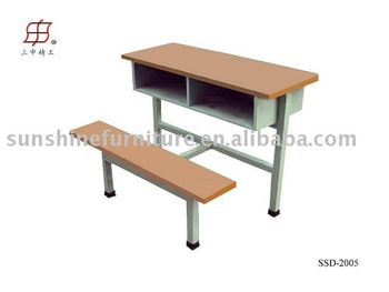 School Wooden Students Double Desk Bench Sets - Buy Wood Bench And ...