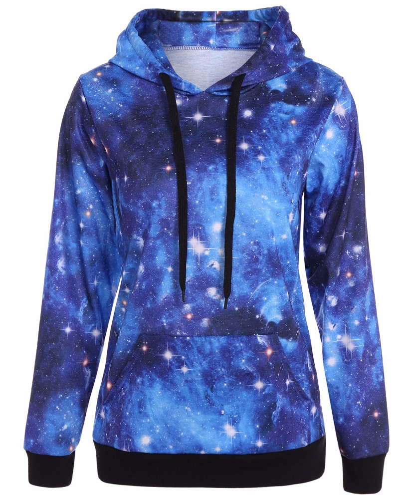 mens streetwear 2018 oem hooded long sleeve t shirt custom sublimated galaxy print drawstring pullover hoodie made in china