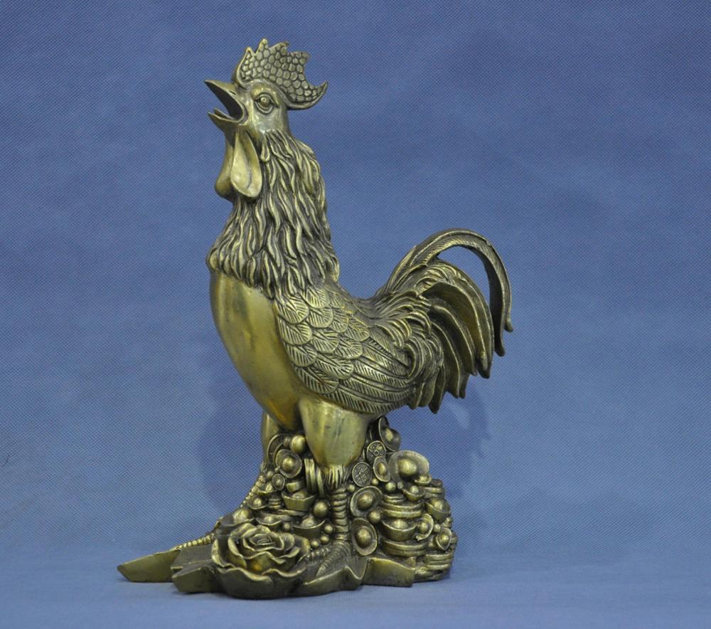 12' China Fengshui Zodiac Bronze <font><b>Rooster</b></font> Yuanbao Ingot Statue Blessing Wealth