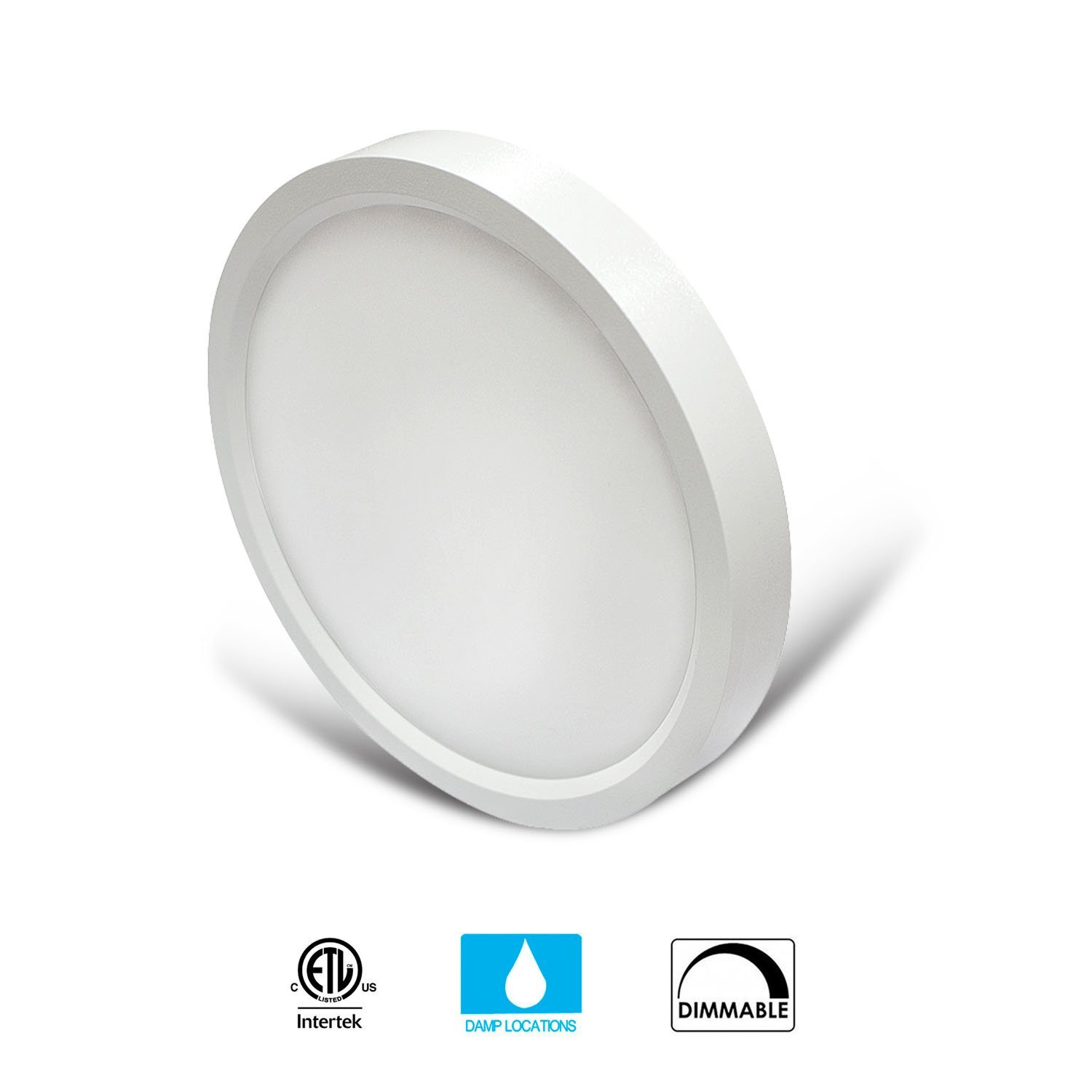 JULLISON 7 inch LED Slim Surface Mount Ceiling Light Fixture, 120V, 15W, 900LM, 3000K Warm White, CRI80, Driverless, ETL Certified, Damp Location, White - Round, 1 Pack