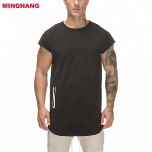 Hot Sale High Quality T- shirt /Mens shirt With Zipper Pocket /Black Gym Shirt Men