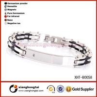 2014 trends wholesale Fashion Stainless Steel Rubber Men's Bracelets Jewelry