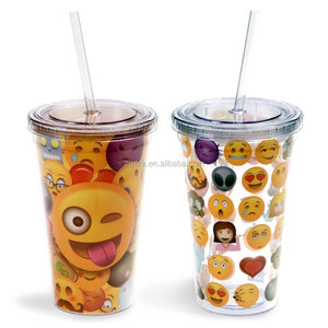 16oz/20oz/22oz/24oz plastic tumbler double wall plastic cup with drinking straw