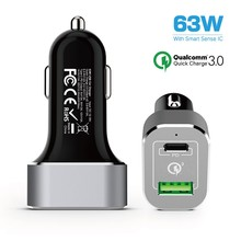63W Car charger with PD quick car charger,car charger with power delivery