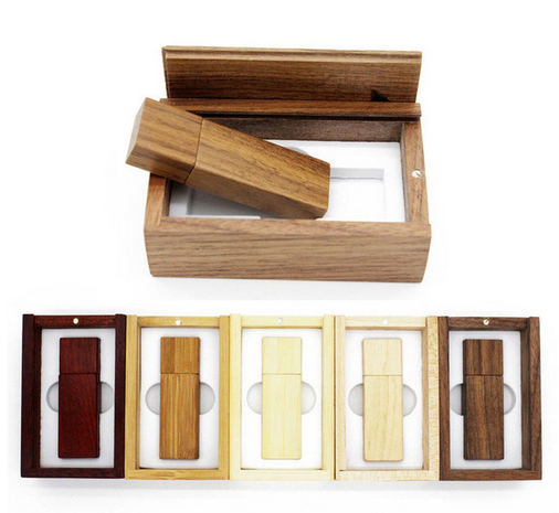 Custom LOGO Wooden USB Flash Drive Pendrive bamboo Memory Stick + Packing Box pen drive 4GB 8GB 16GB 32GB usb