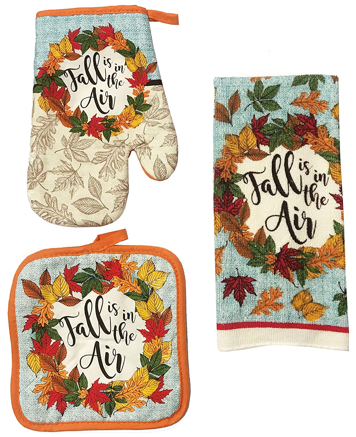 Kitchen Towel Set 3 Piece Fall Autumn Thanksgiving Harvest Theme Design That Includes 1 Dish Towels, 1 Pot Holder, and 1 Oven Mitt (Fall is in the Air)