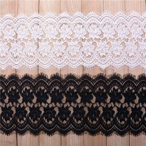 24cm New fancy various colors elastic flower pattern guipure mesh border ivory scalloped lace trim for lingerie C265