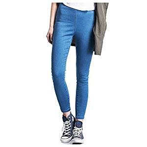 Women Jeans - SODIAL(R)Woman's Fashion Leggings Summer Autumn High Waist Elastic plus Size women Skinny jeans denim pants(blue,L/US-4)