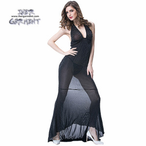 sexy women gown long dress robes hotslae black mesh transparent lingerie style IH-B655