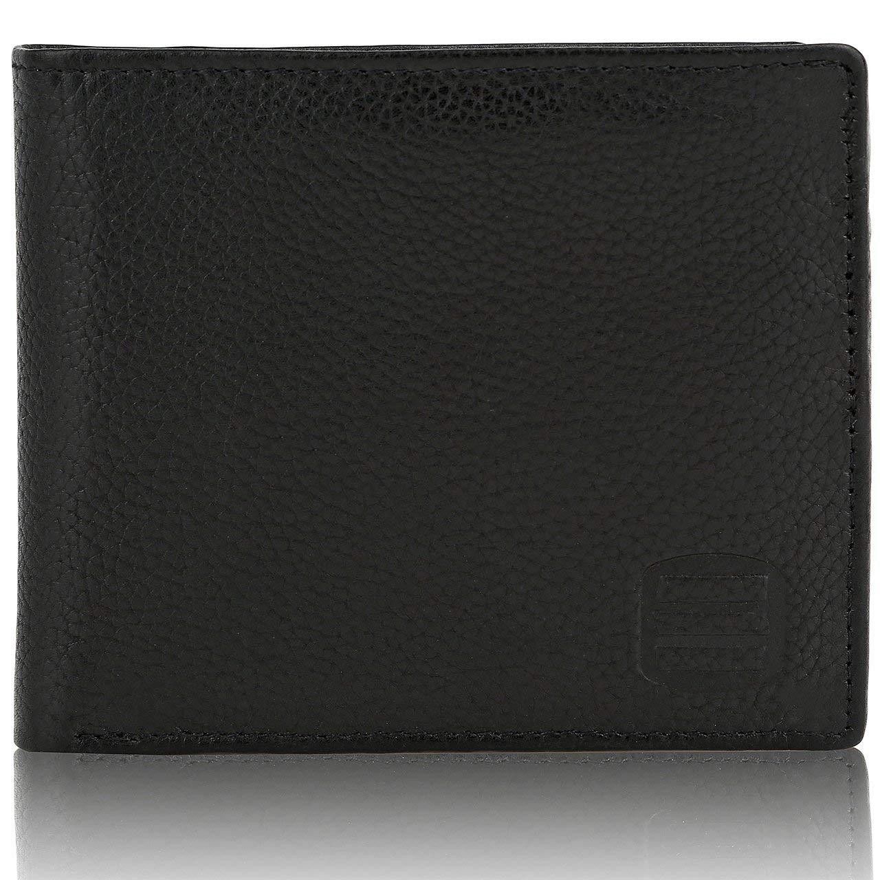 Suvelle Bifold Mens Genuine Leather RFID Blocking Slimfold Travel Wallet WR98