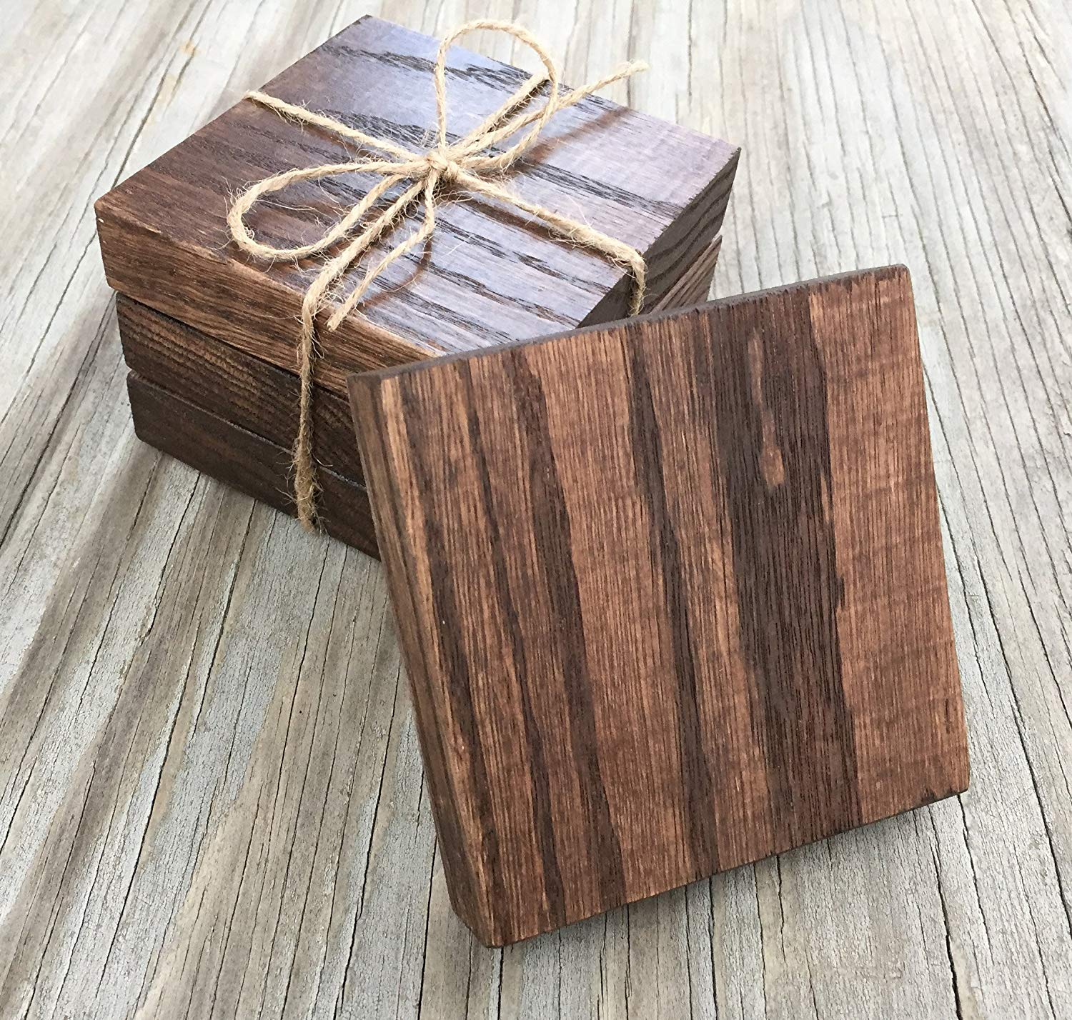 Rustic Handmade Kona Block Oak Wood Wooden Set Of 4 Wooden Drink Coaster Coasters Custom Stain Color Choices