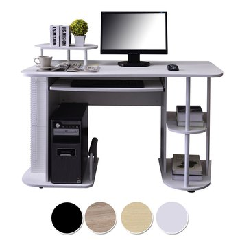 White Pc Workstation Wooden Computer Table Office Desk Hardware Parts