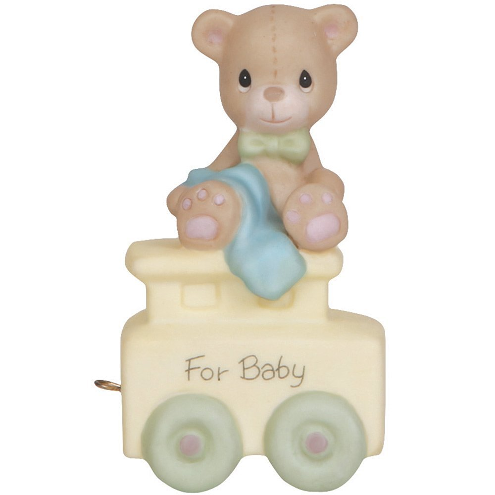 "Precious Moments, Birthday Gifts, ""May Your Birthday Be Warm"", Birthday Train Baby, Bisque Porcelain Figurine, #142020"