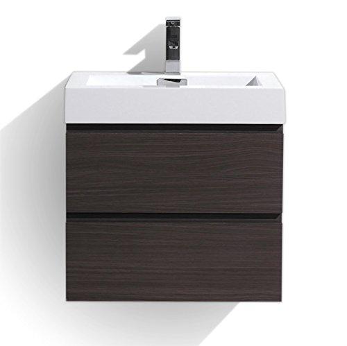 Moreno MOF 24 inch Wall Mounted Modern Bathroom Vanity with Acrylic Sink (Dark grey oak)