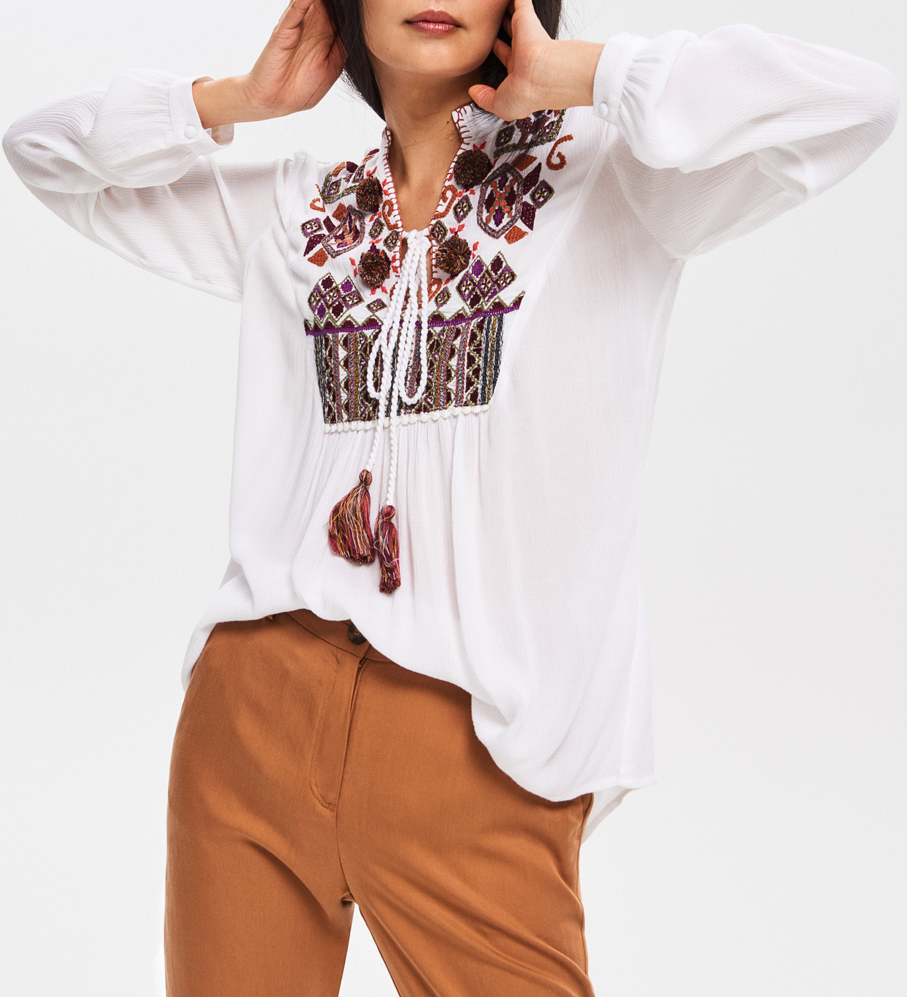 Mexican Beach Holiday Viscose Embroidery Women Blouse & Top