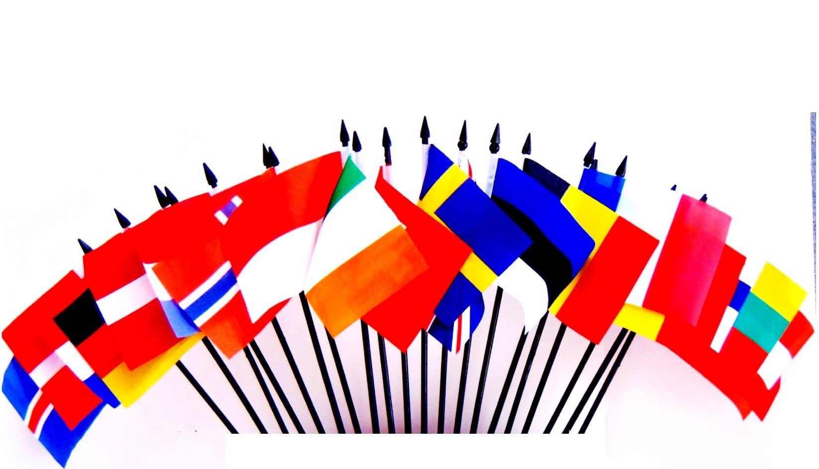 """Northwest Europe World Flag SET-20 Polyester 4""""x6"""" Flags, One Flag for Each Country in Northwest Europe 4x6 Miniature Desk & Table Flags, Small Mini Stick Flags"""