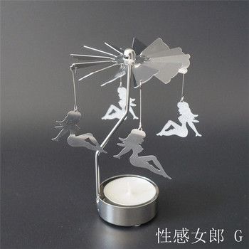 2018 New creative hot girl shape metal candle holder rotary candle holder
