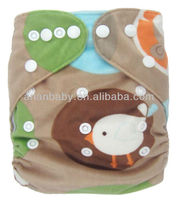 Cute Soft PUL MINKY Antibacterial baby Cloth Diaper One-Size Snap Closure Cloth Diaper