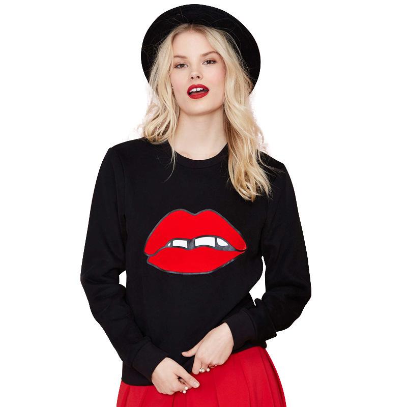 f24003637961 Get Quotations · Red Lip Print Black Sweatshirt Women 2015 Hoodies Pullover  Casual Ladies Sweatshirts Outside Women Sport Suits