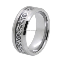 Profession jewelry factory silver dragon inlay tungsten Celtic engraved carbide rings